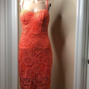 Dresses & Skirts - Coral lace boustier dress